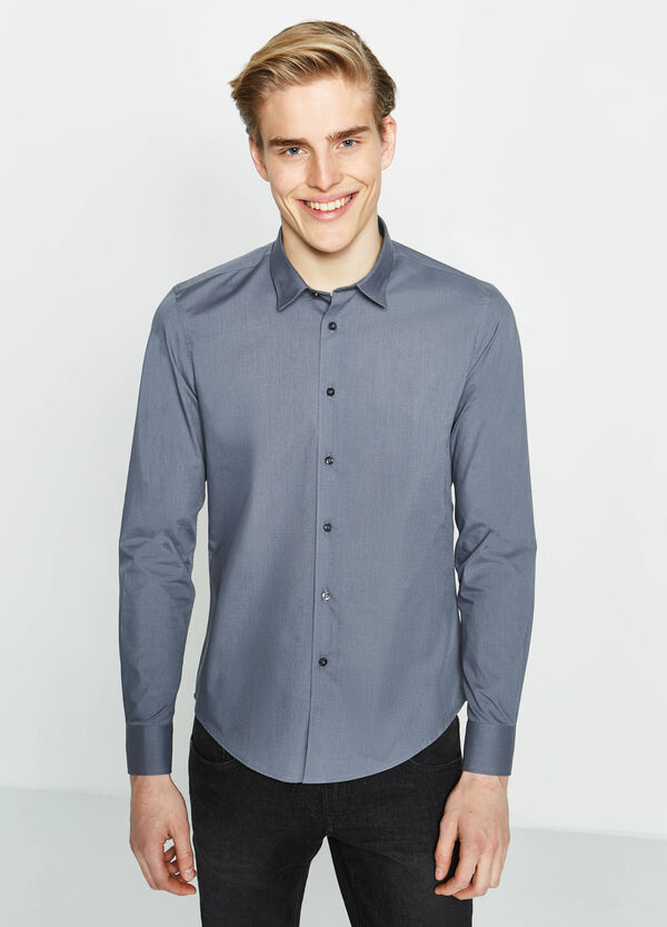 Solid colour regular-fit cotton Rumford shirt | OVS
