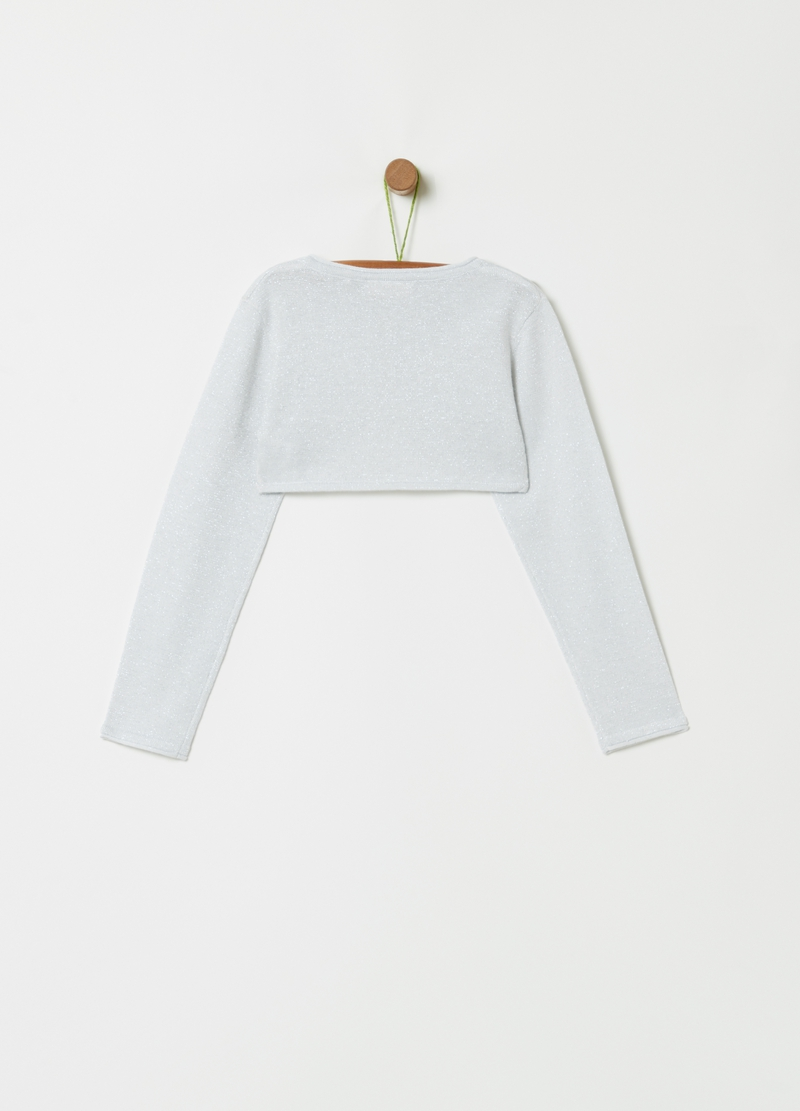 Crop cardigan with all-over lurex image number null