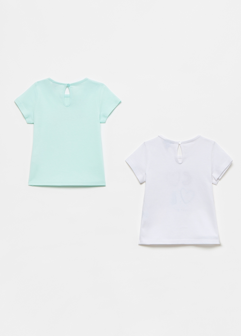 Two-pack T-shirts with lettering and small hearts image number null