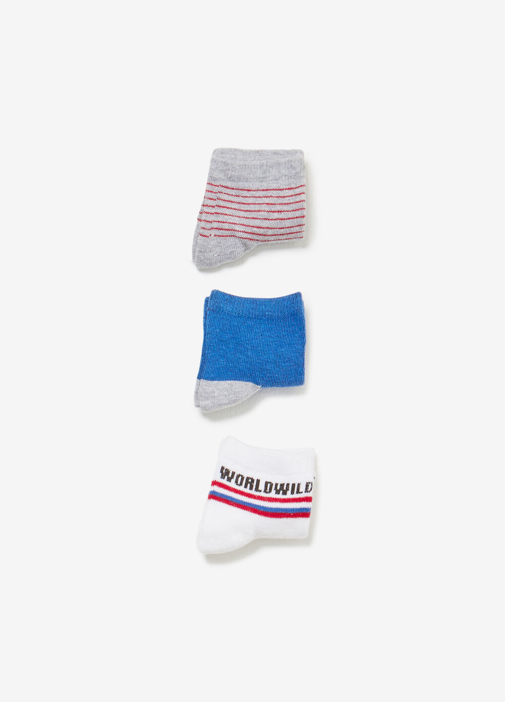 Three-pair pack short solid colour and striped socks