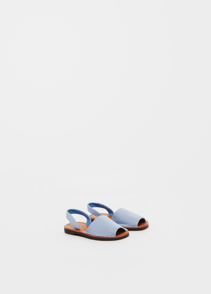 Open sandals in striped cotton image number null