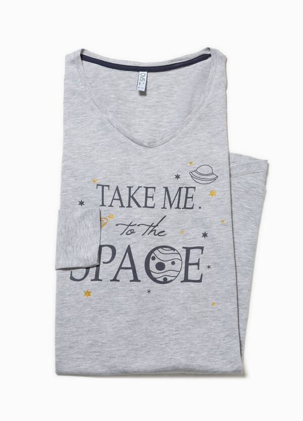 Cotton nightdress with printed lettering | OVS