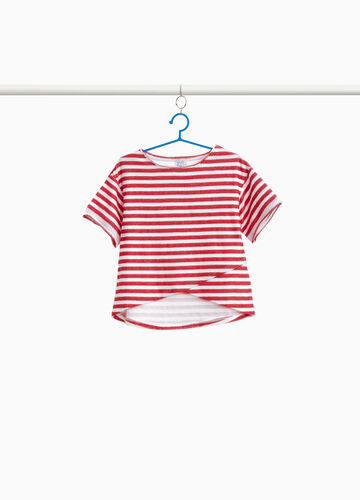 100% cotton striped crop sweatshirt