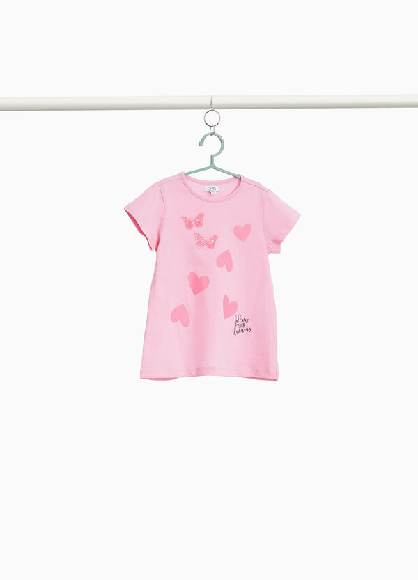 100% cotton T-shirt with hearts and butterflies