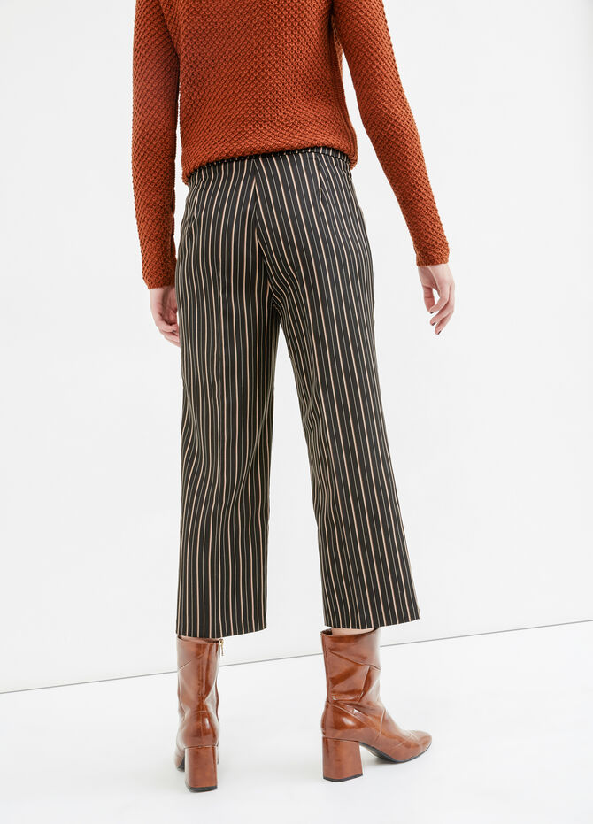 Stretch striped viscose crop trousers