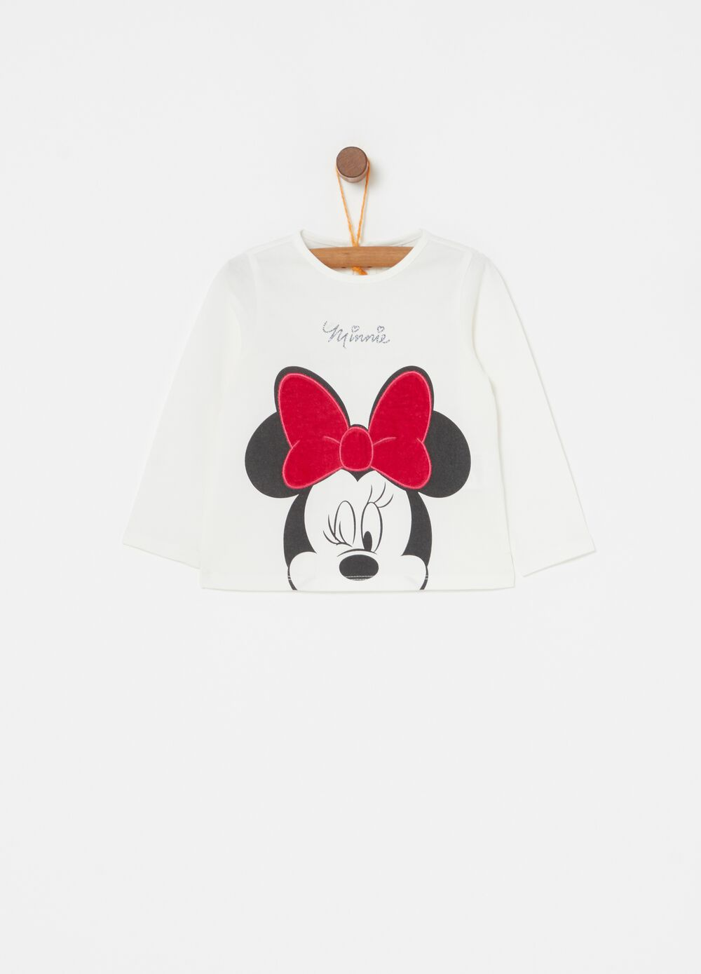 T-shirt biocotton ricamo e stampa Minnie