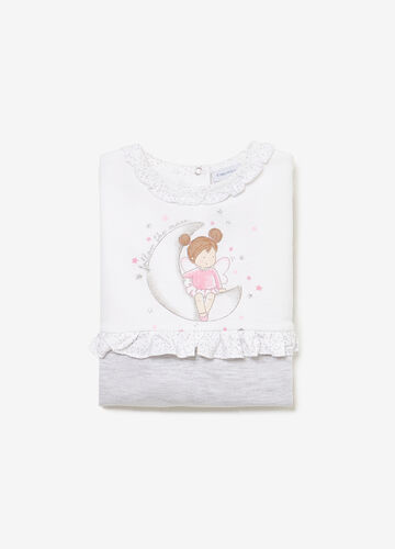 Cotton sleepsuit with glitter print and flounce