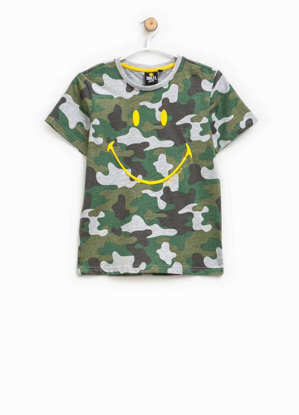 Smiley print camouflage T-shirt | OVS
