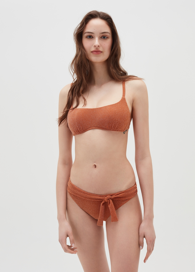 Bralette bikini top with knitted lurex image number null