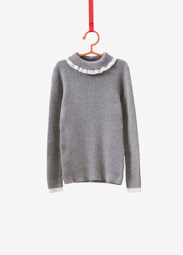 Cashmere and cotton pullover with striped weave