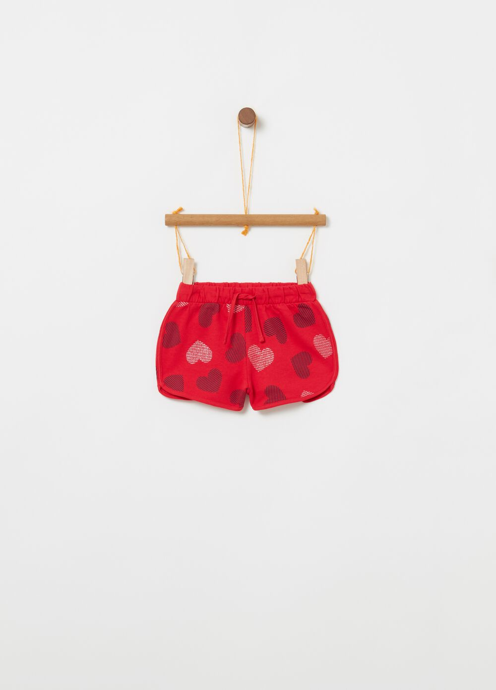 Shorts in cotone stampa a cuori all-over