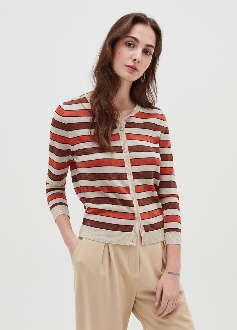Cardigan with striped buttons image number null