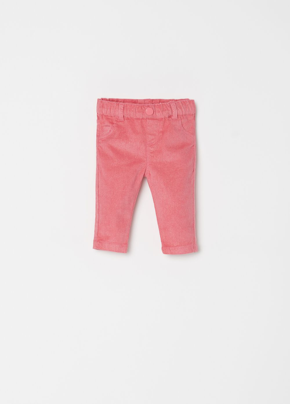 Pantaloni in cotone stretch con glitter