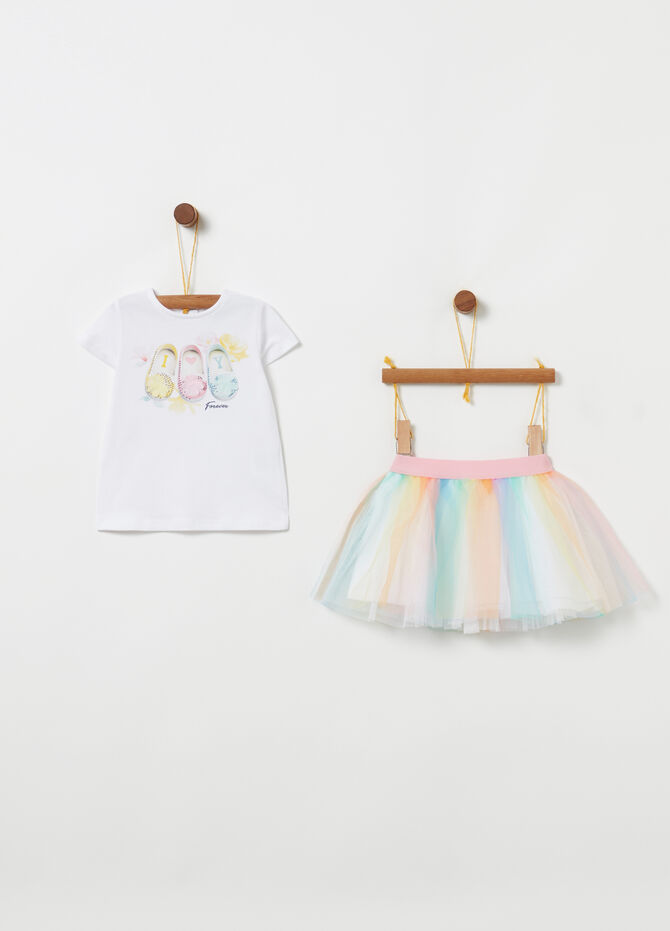 Set t-shirt e gonna con tulle biocotton