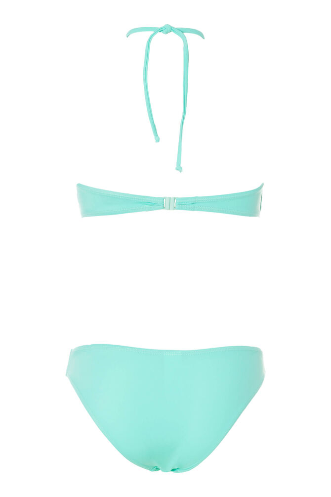 Bikini top and bottoms with ring and ties