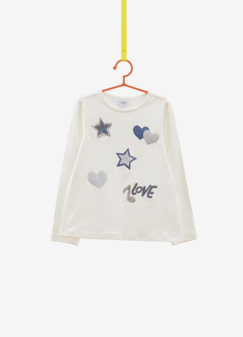 T-shirt stretch cuori glitterati e paillettes