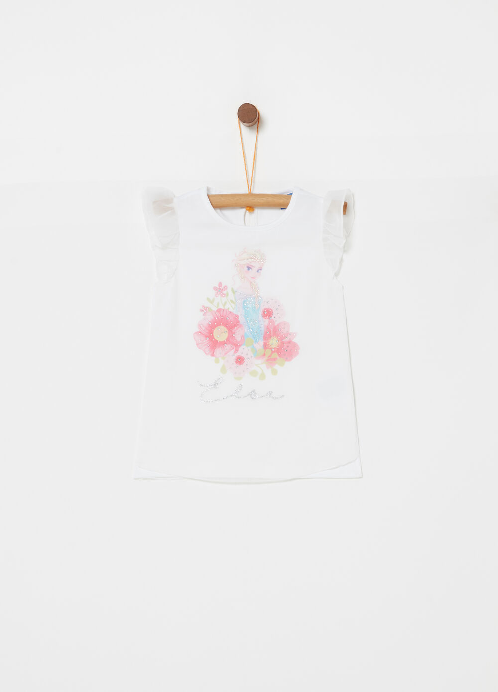 T-shirt with tulle and Disney glitter print