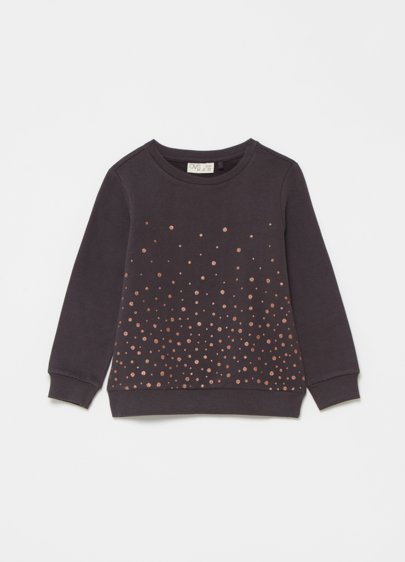 Sweatshirt with round neck and glitter polka dots print image number null