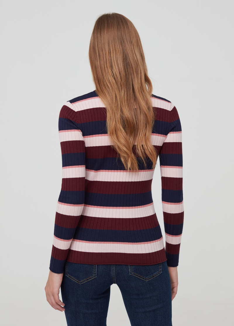 Pullover a coste fantasia a righe image number null