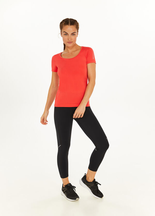 T-shirt girocollo stretch con stampa