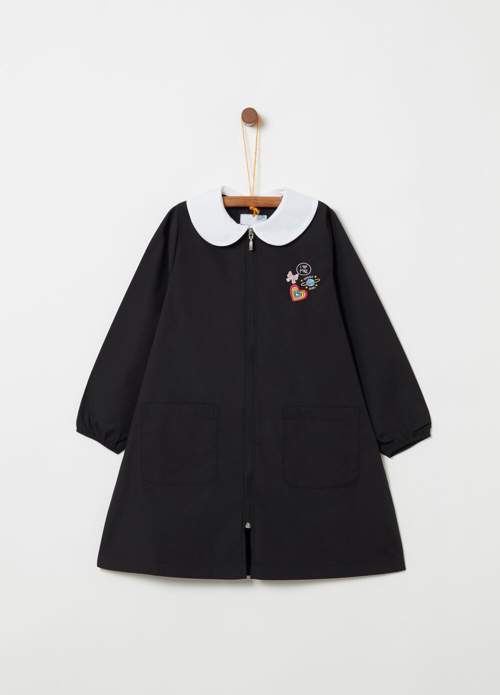 Smock with embroidery pockets and zip