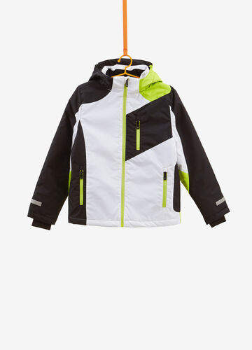 Two-tone ski jacket with lettering print