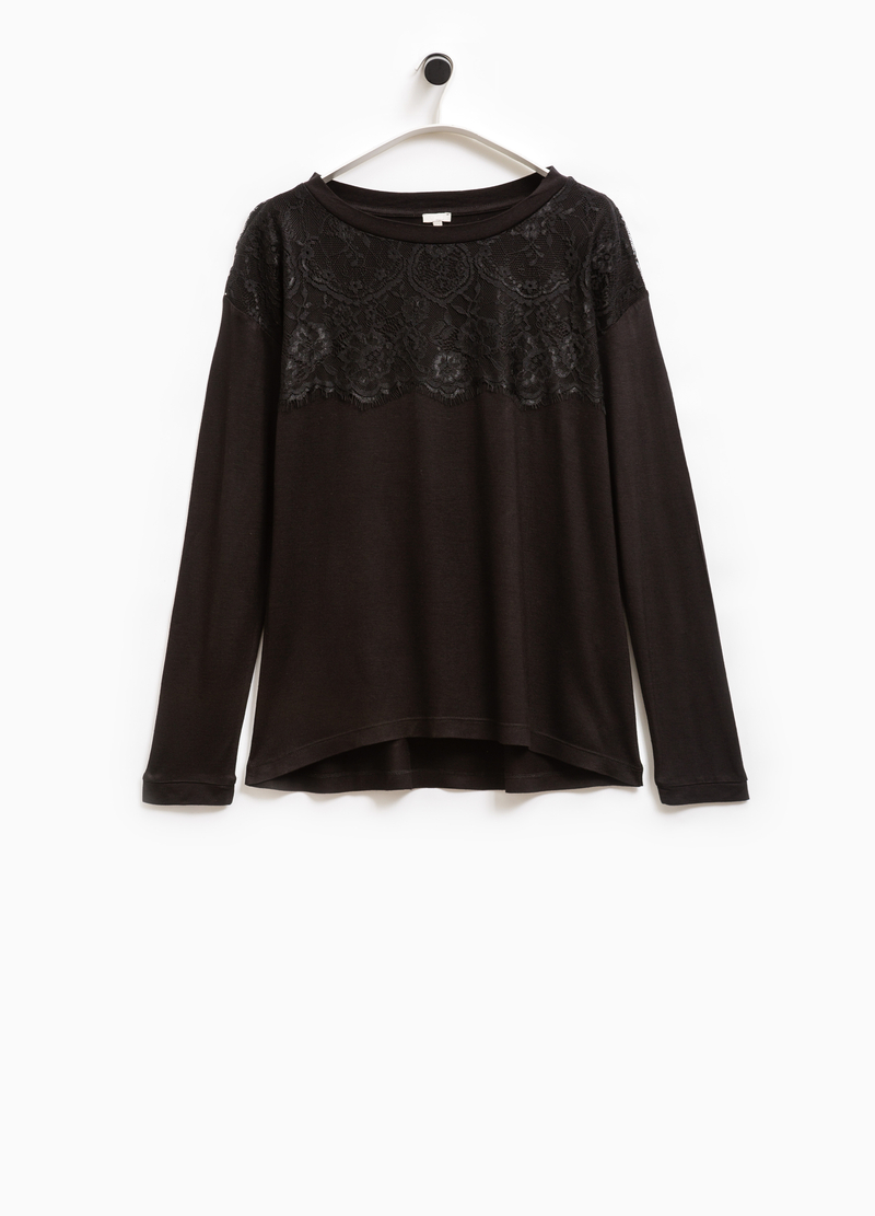 Smart Basic viscose T-shirt with lace image number null
