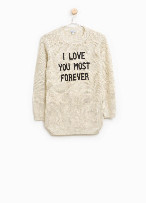 Lurex pullover with lettering print