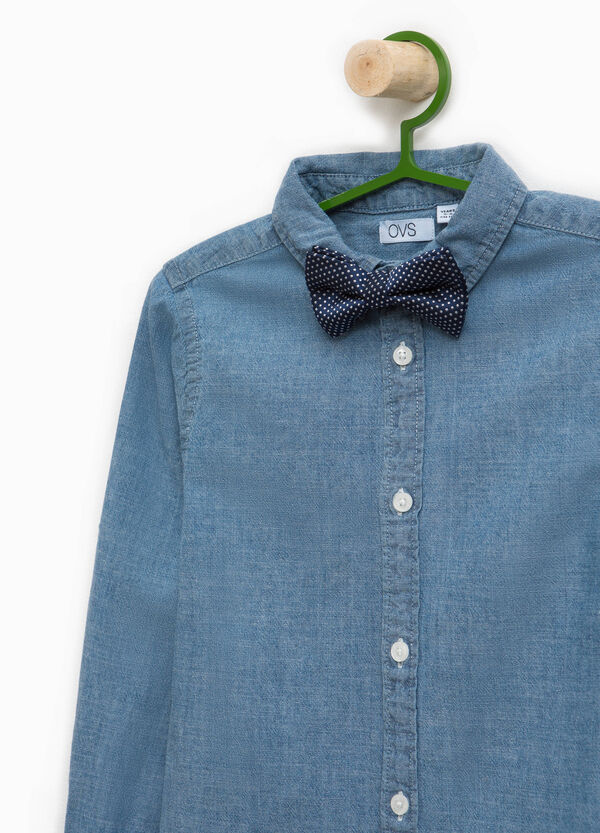 Denim shirt with polka dot bow tie | OVS