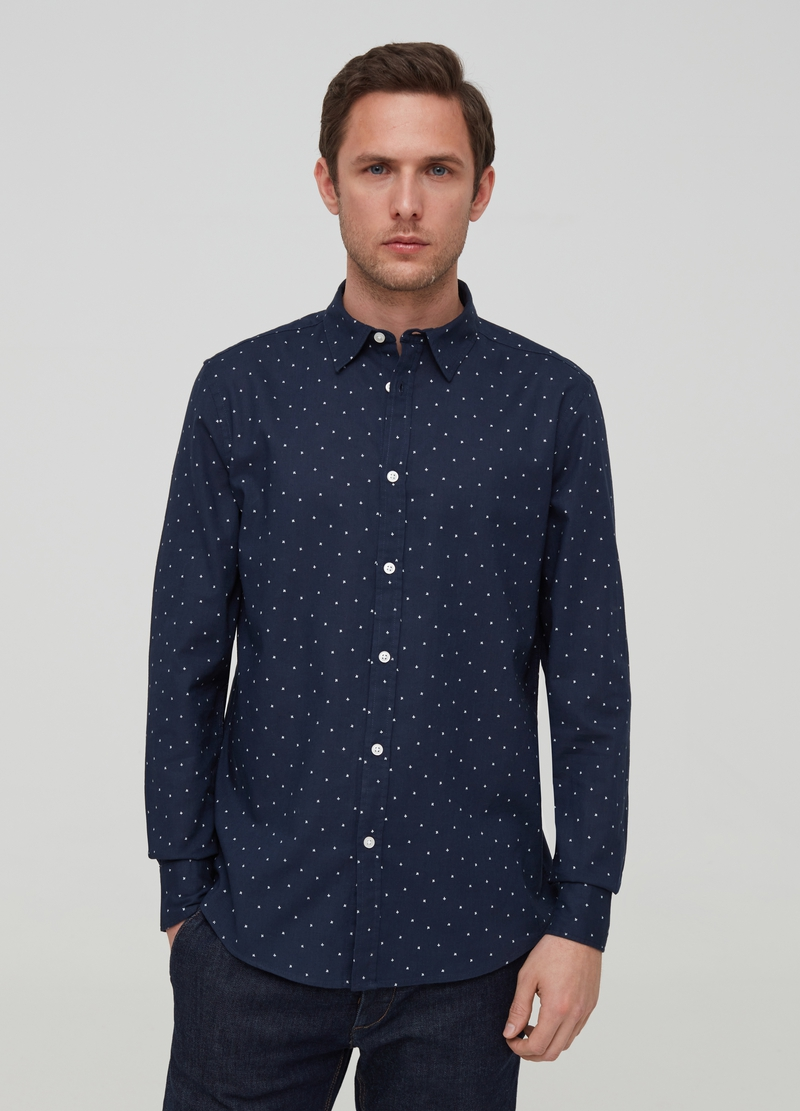 Patterned shirt in linen and viscose image number null