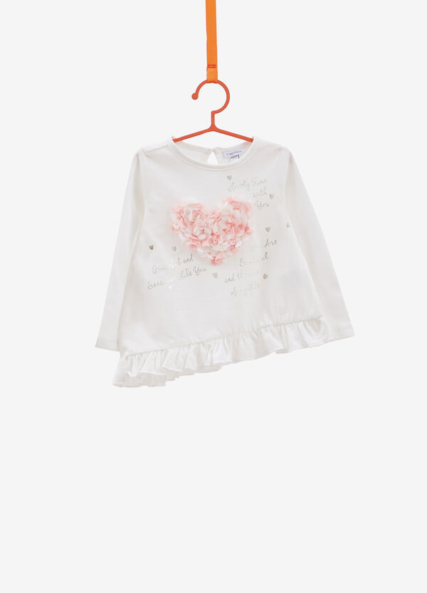 Cotton T-shirt with glitter print and patch