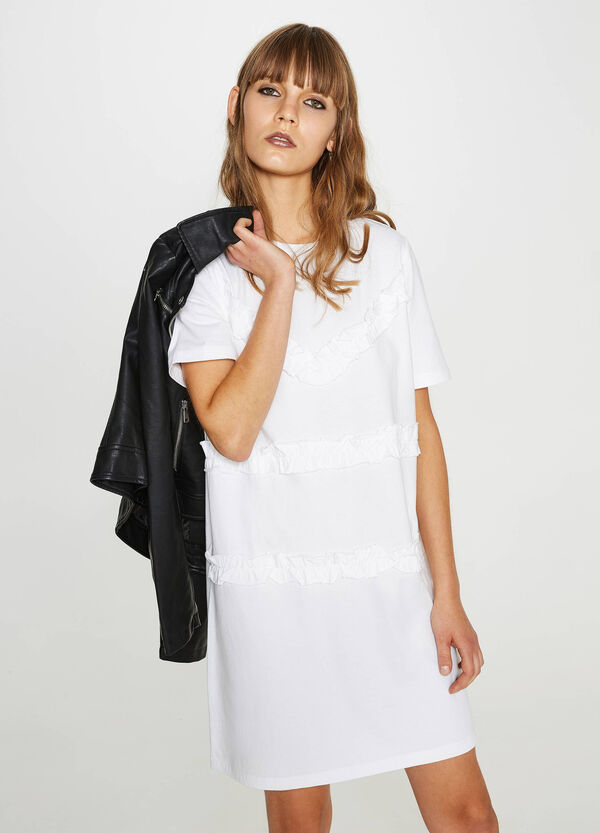 100% cotton dress with flounce
