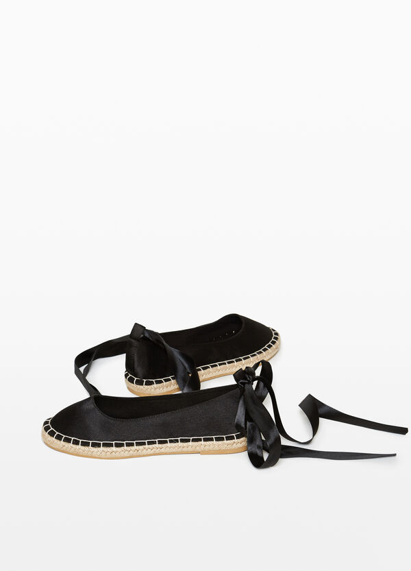 Satin espadrilles with bow