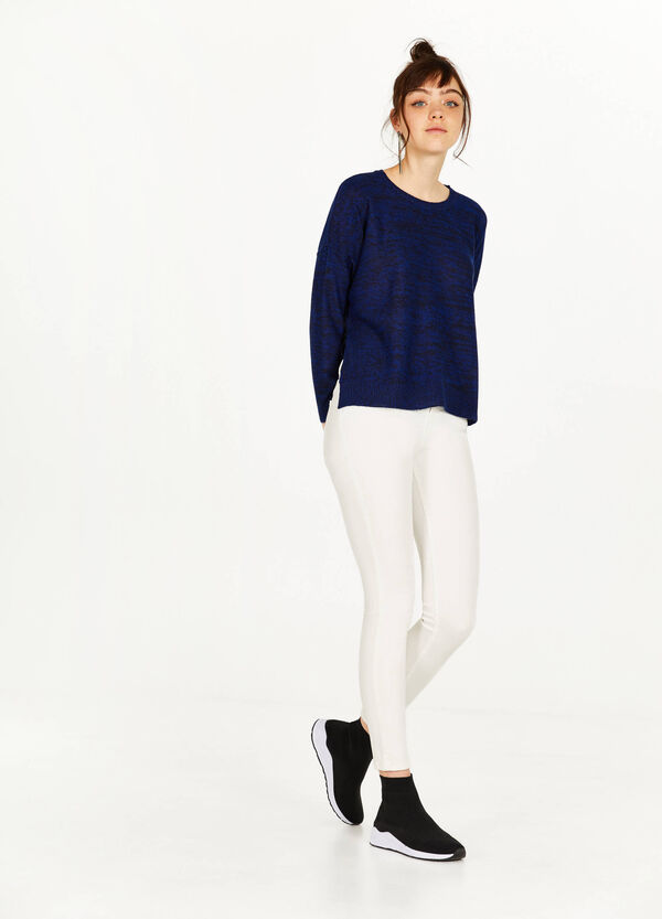 Mélange pullover with slits