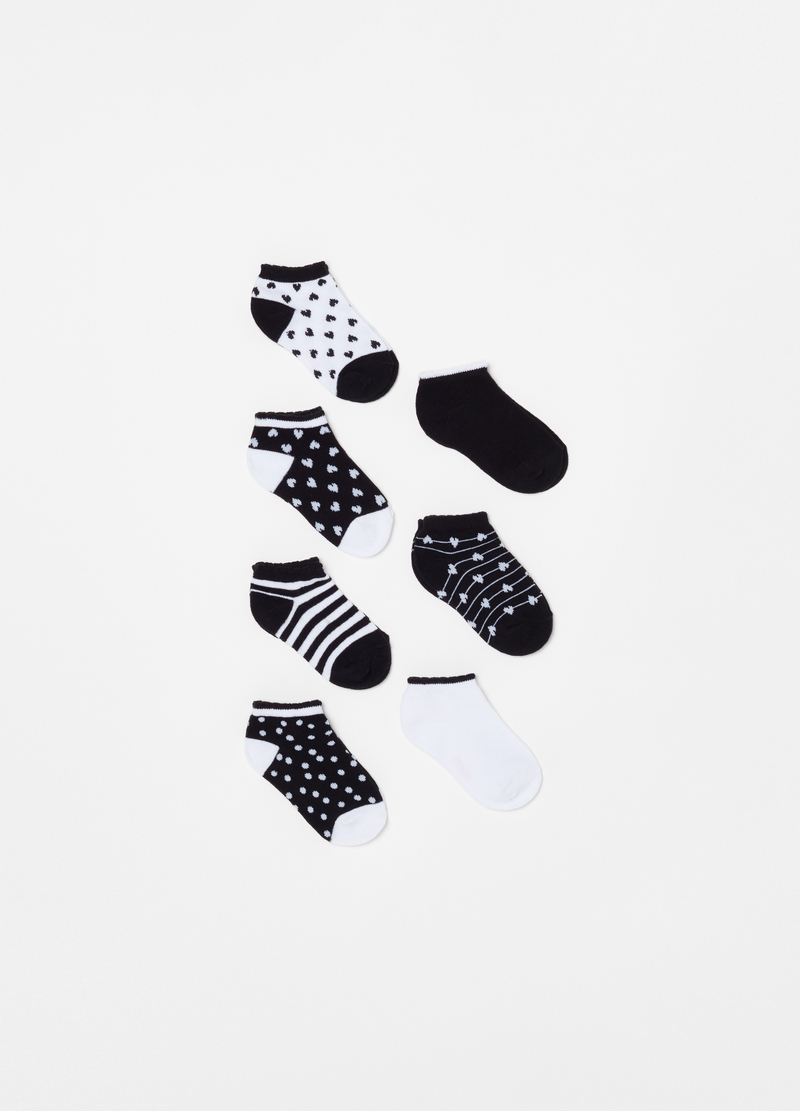 Seven-pair pack short socks with patterns image number null