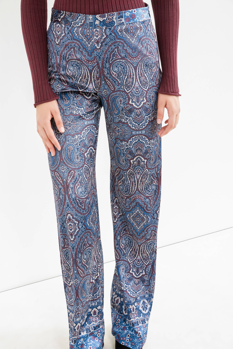 High waist trousers with paisley print image number null