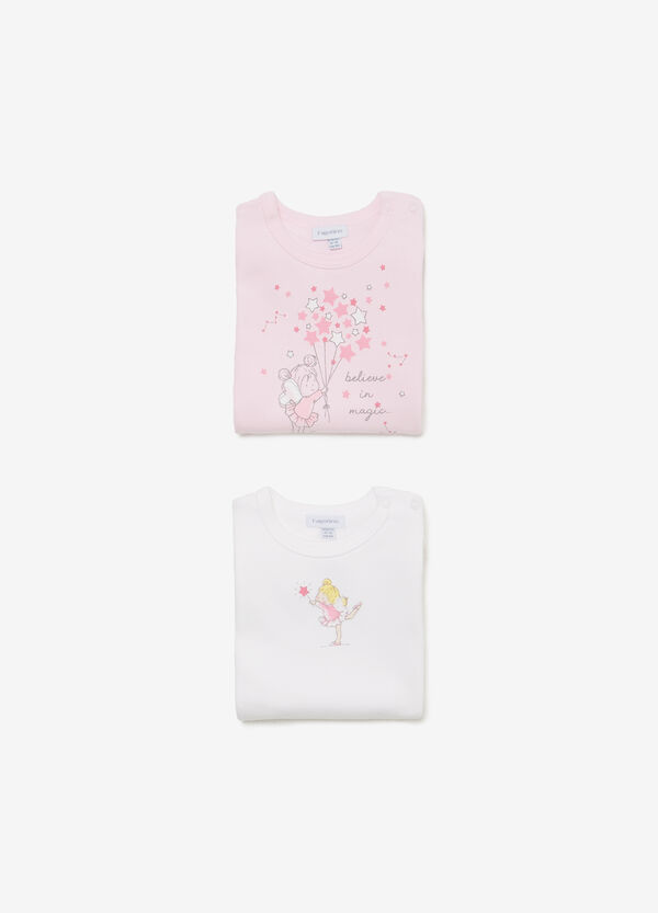 Two-pack cotton bodysuits with ballerina motif