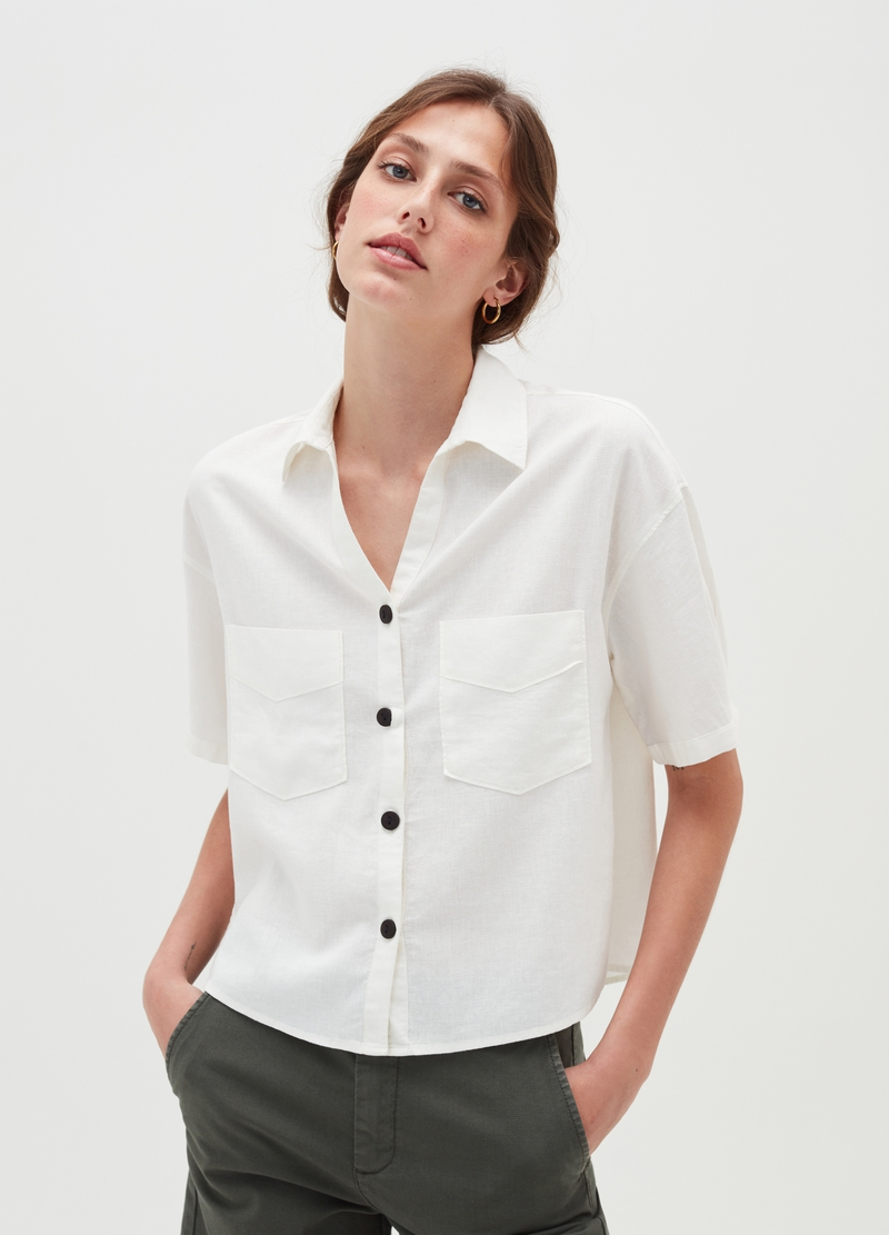 Linen and viscose shirt with short sleeves image number null
