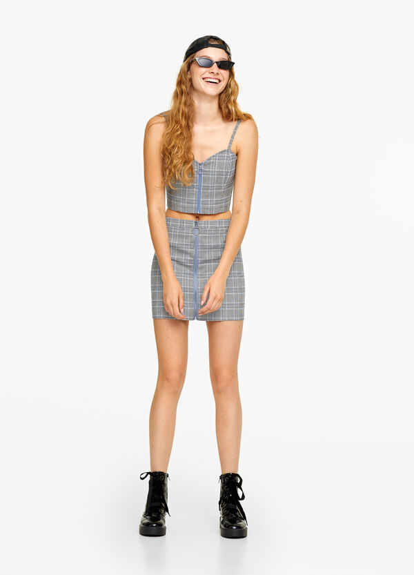 Stretch top with checked zip