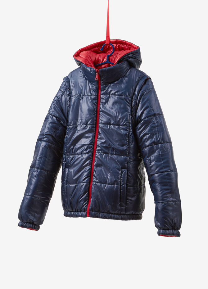 Reversible jacket with hood