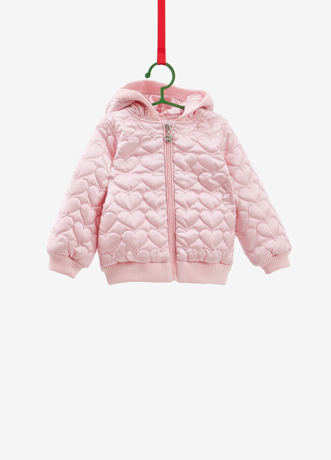 Bomber jacket with heart weave hood