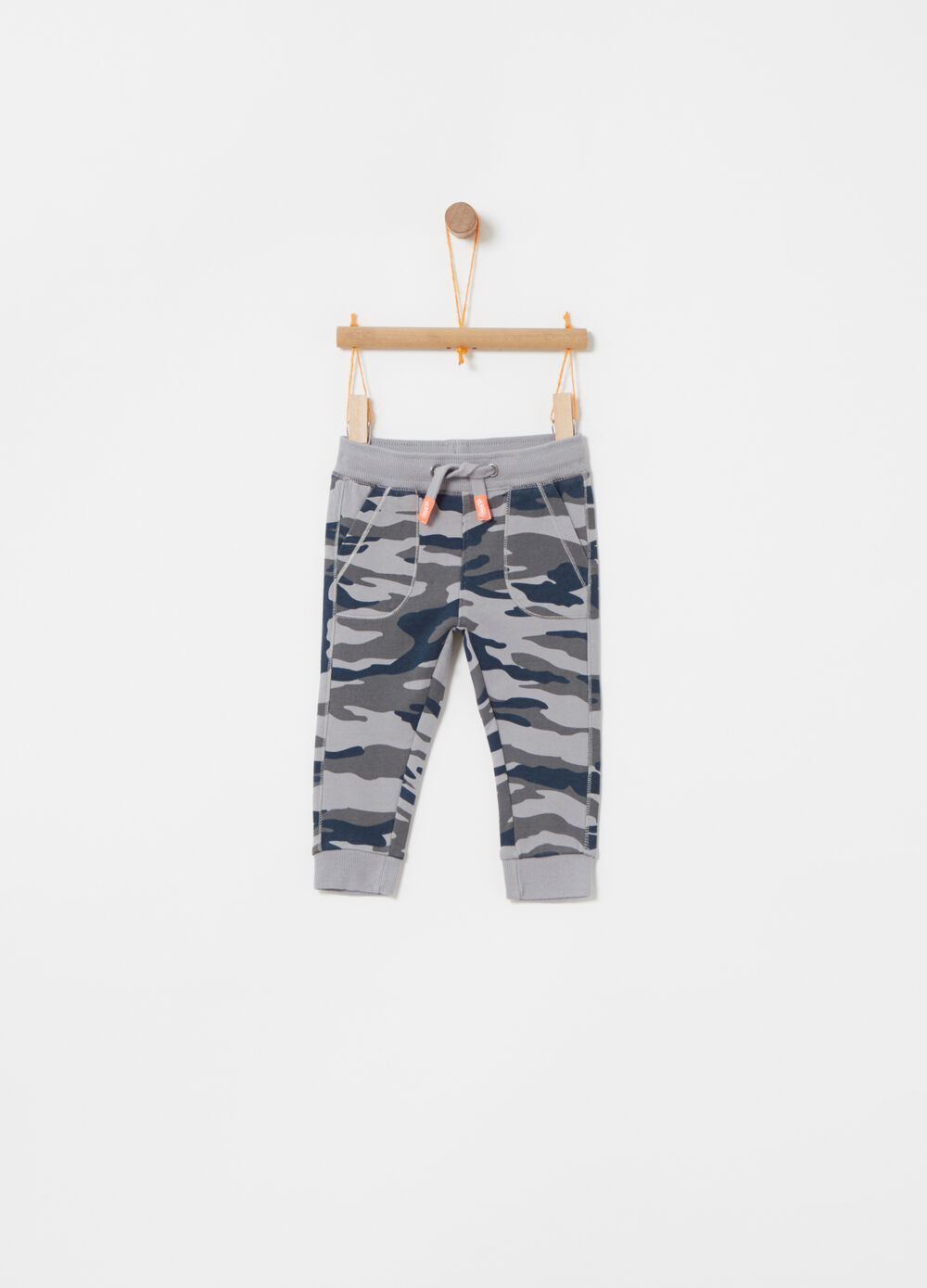 Pantaloni in cotone camouflage all-over