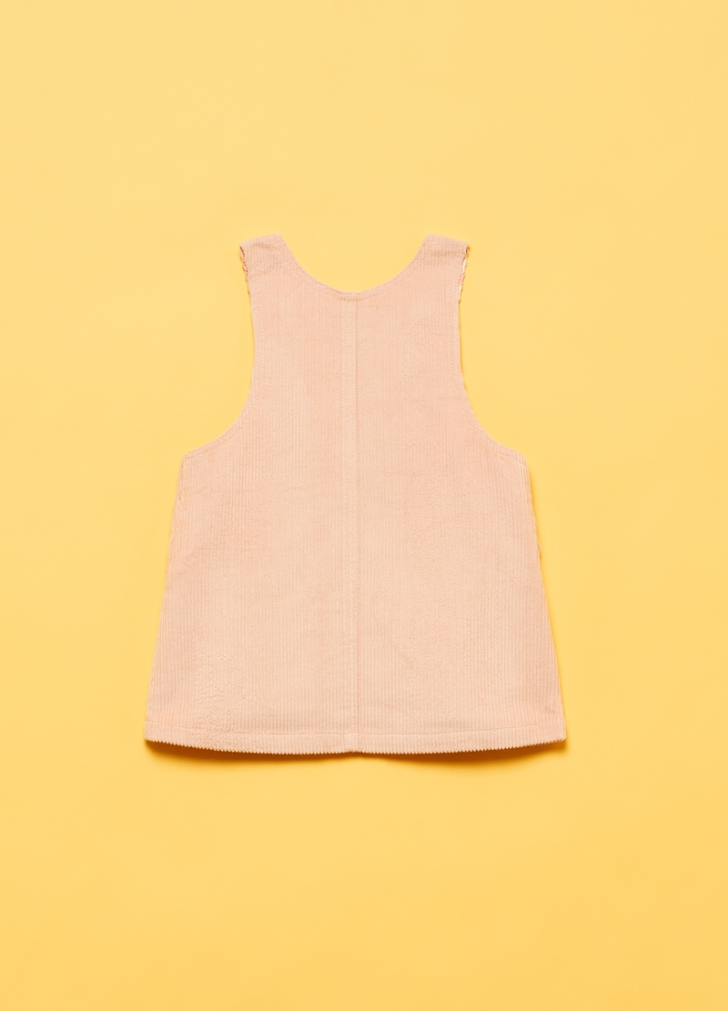 Sleeveless corduroy dress with pockets image number null