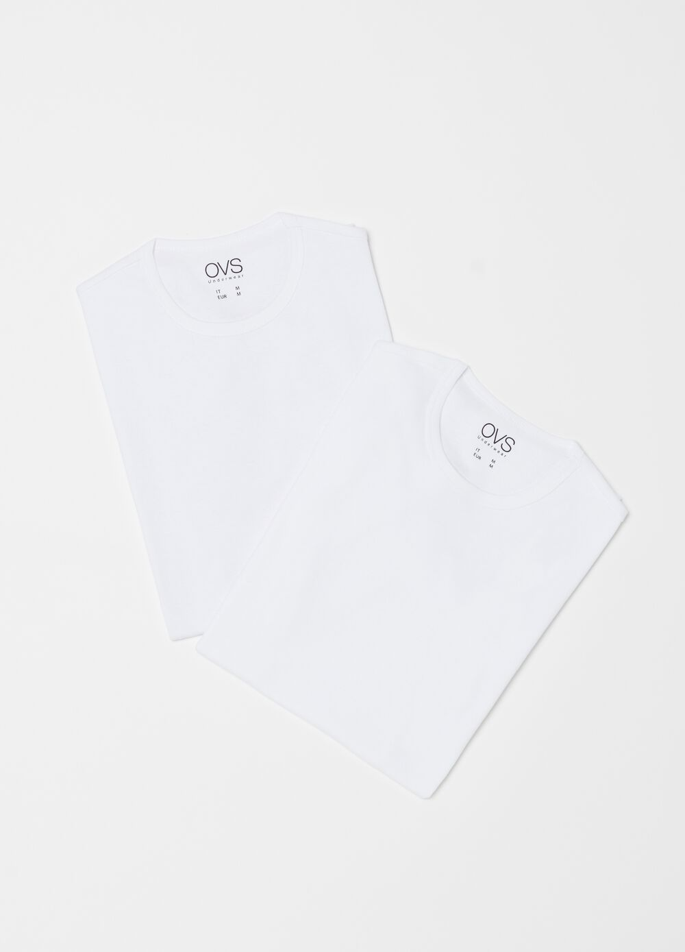 Two-pack 100% cotton T-shirts with ribbing