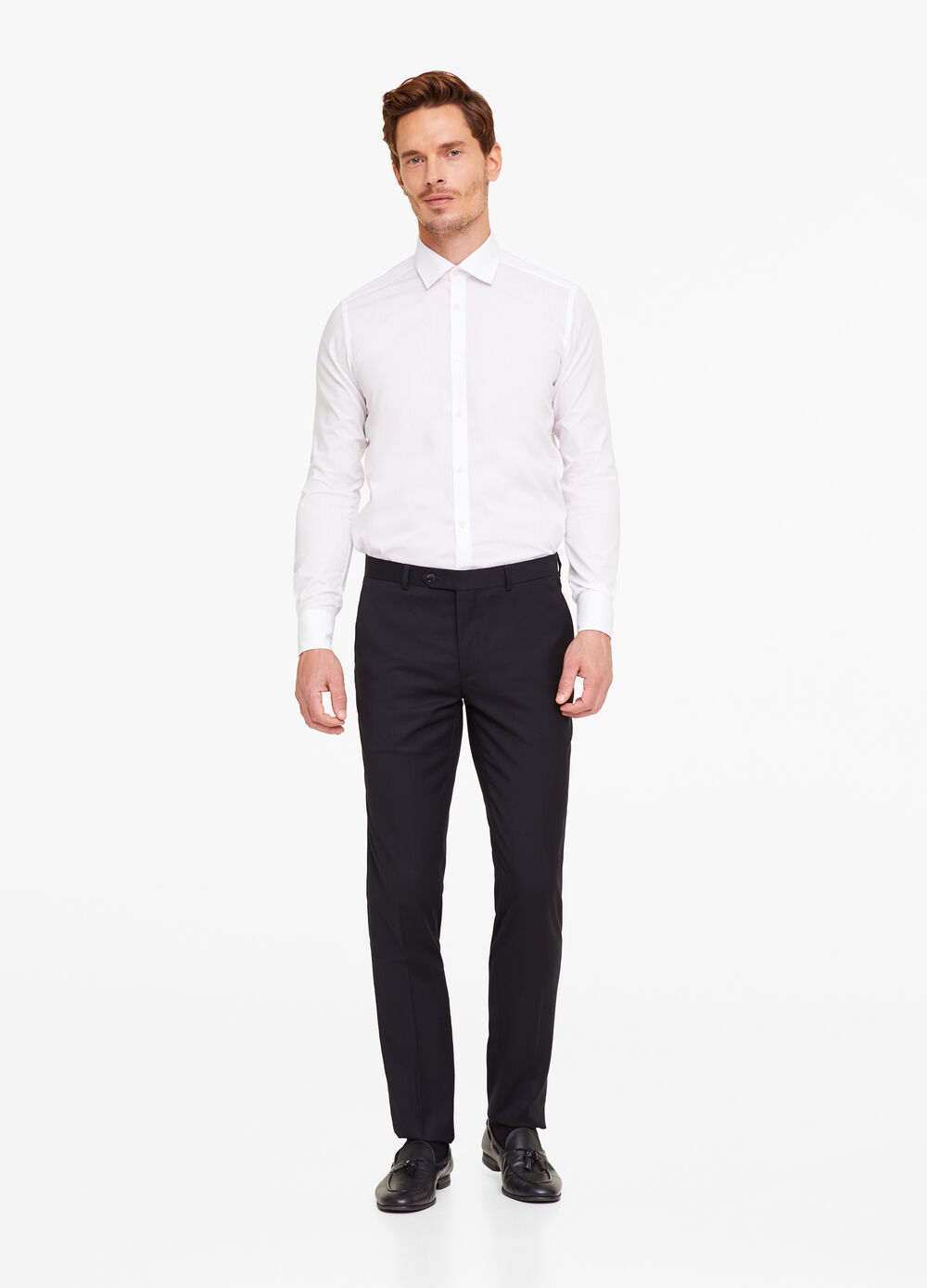 Slim-fit trousers with frayed hem