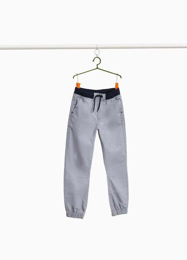 Cuff-hem trousers in cotton with drawstring