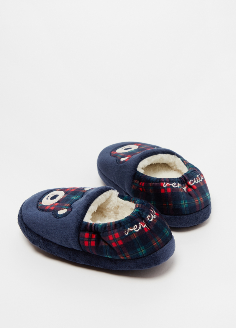 Pantofole con orsetto tartan image number null