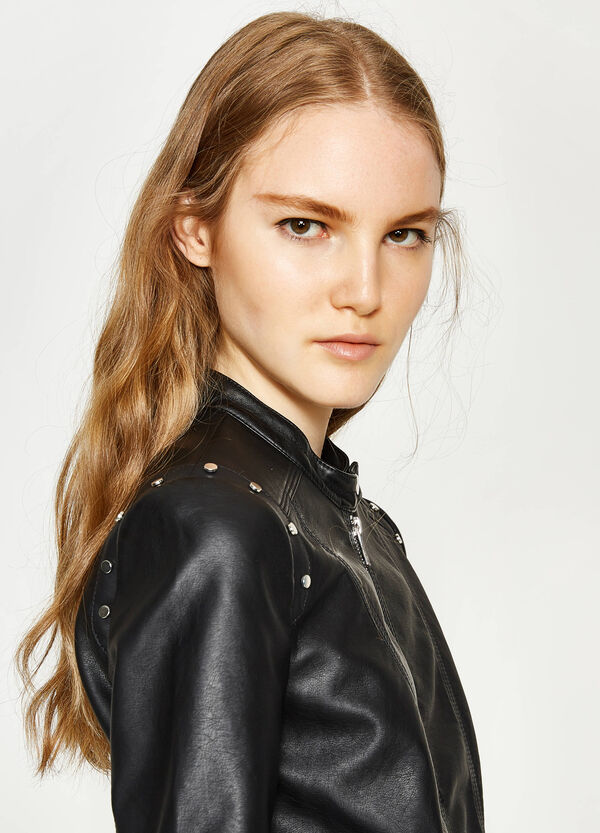 Leather look jacket with studs | OVS