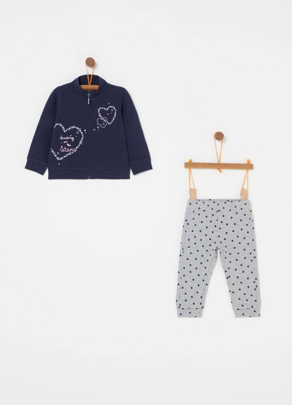 Jogging set felpa leggings e glitter cuori