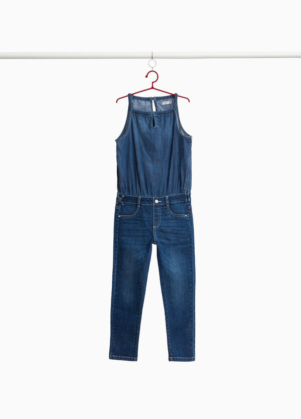 Stretch denim sleeveless tracksuit